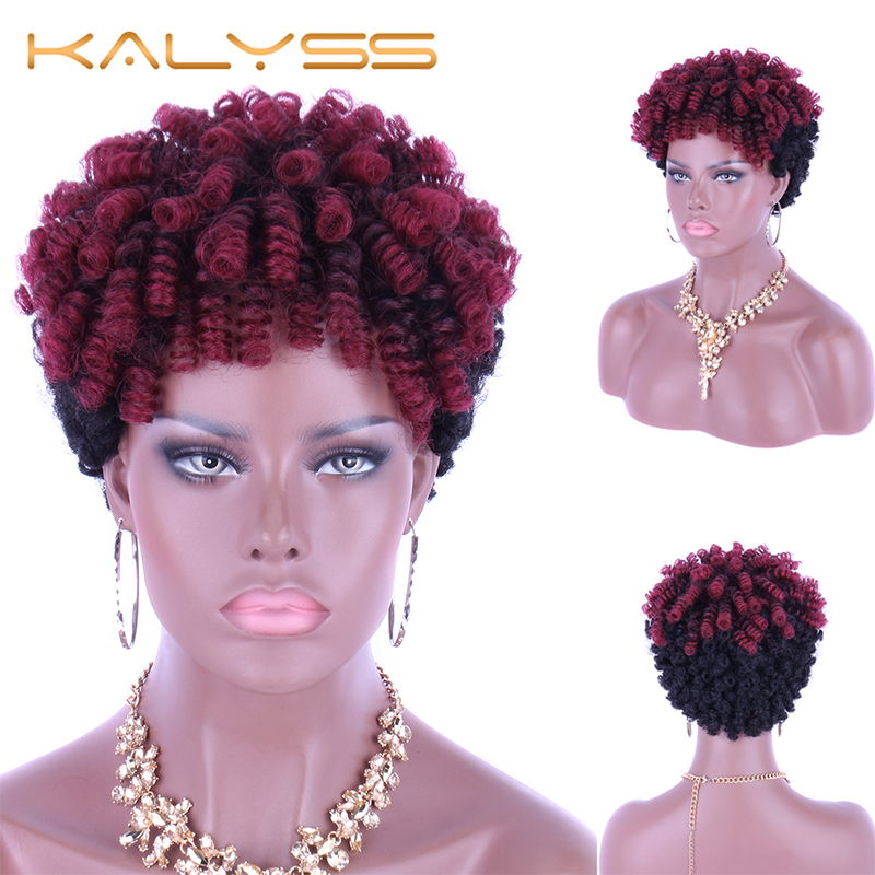 Kalyss 6 Inches Braided Wigs Synthetic Wig Short Bob Cut Afro Kinky Curly Wig For Black Women African American Wigs False Hair