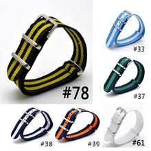Ремешок нейлоновый для наручных часов, браслет из Ткани в стиле милитари, с пряжкой, цвет черный/желтый, 22 мм, разные цвета
