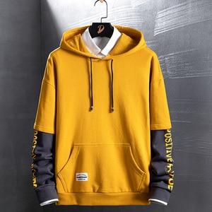 Image 3 - SingleRoad Mens Hoodies Autumn Spring New Fashion Japanese Streetwear Hip Hop Sweatshirts Women Harajuku Yellow Hoodie Men Male