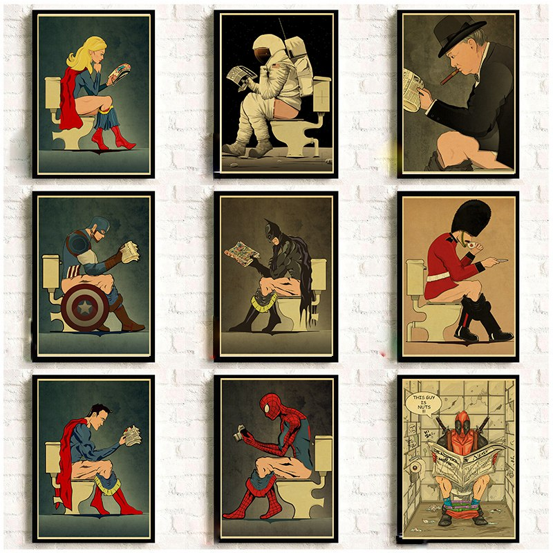 Super Hero Funnythings Picture Retro Wall Art Painting Nordic Poster Cartoon Prints Wall Pictures Toilet Bathroom Washroom Decor