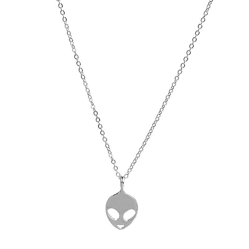 Женское ожерелье с подвеской «инопланетянин», серебристого цвета, 1 шт.