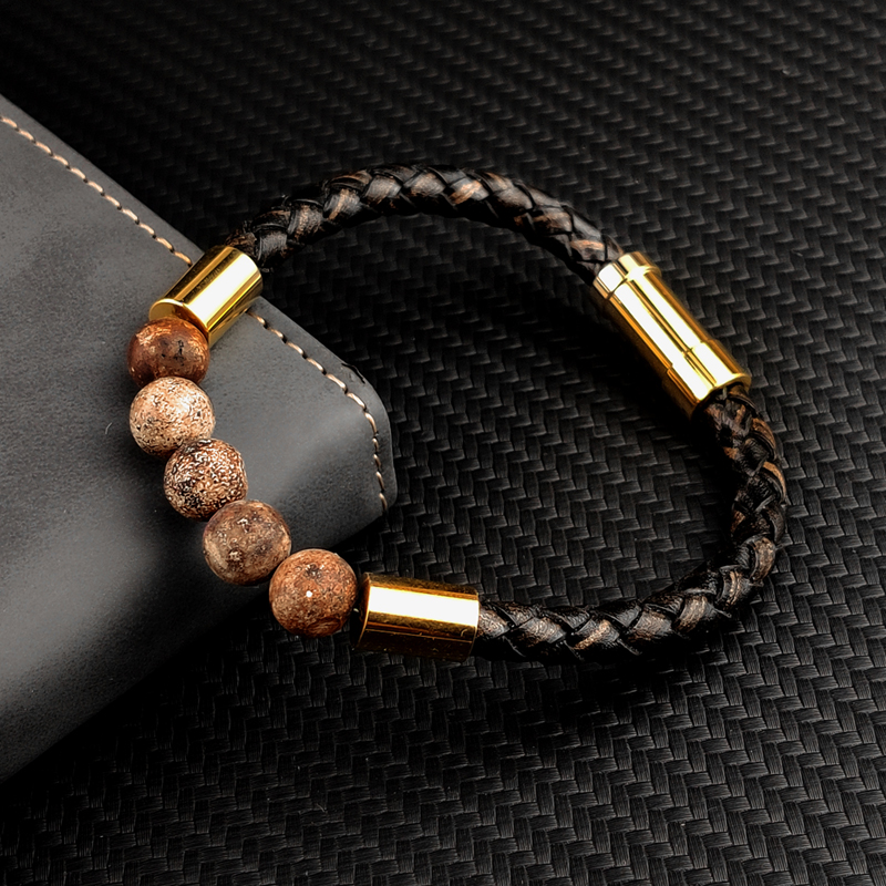 Bracelet en cuir tressé pour hommes et femmes, nouveau, breloque rouge, pierre naturelle 3