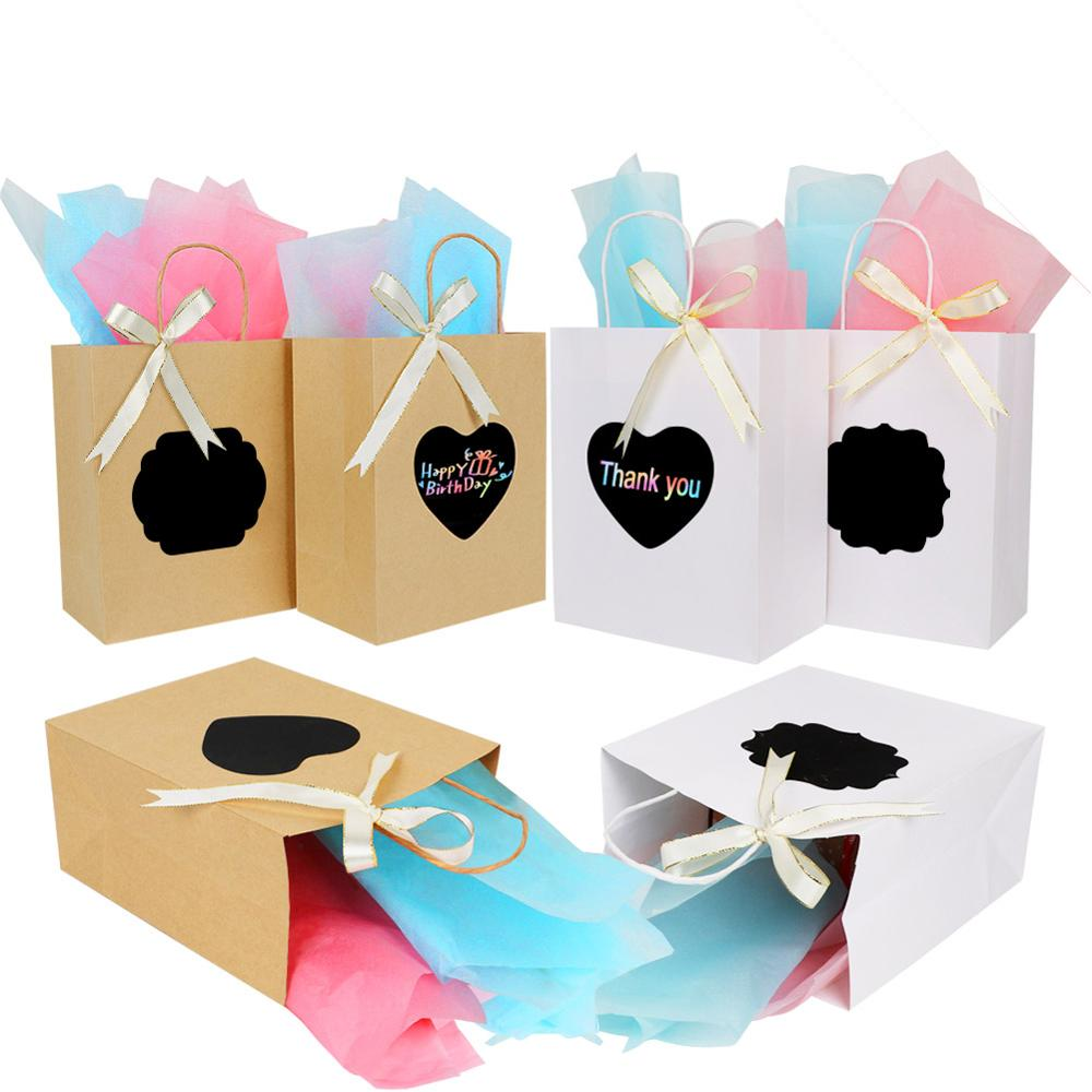 OurWarm 24pcs Thank You Paper Bags With Handles Scratch Paper Gold Ribbon Party Favors Bag For Guests Wedding Party Supply