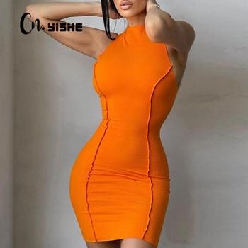 CNYISHE Sleeveless Casual Fashion Mini Dresses Skinny Summer O-neck Women Bodycon Neon Orange Dress Streetwear Vestidos Robes 1