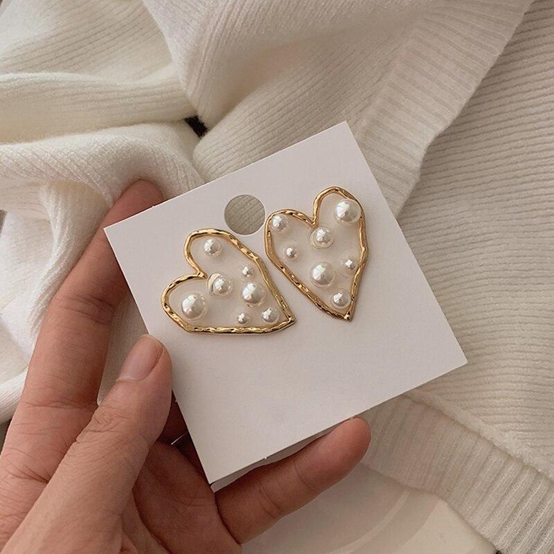 AENSOA Unique Transparent Acrylic Heart Big Earrings For Women 2020 New Jewelry Korean Clear Statement Drop Earrings Brincos