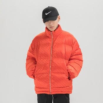 Chic Brand Orignal Men's Wear Simple Letter Print Thicken Warm Men's Cotton Jacket Men and Women Coat