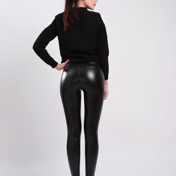 SVOKOR Women Plus Size Winter Leather Pants  High Waist Warm Velvet Pant Trousers Women Thick Stretch Pantalon Femme S-5XL 2