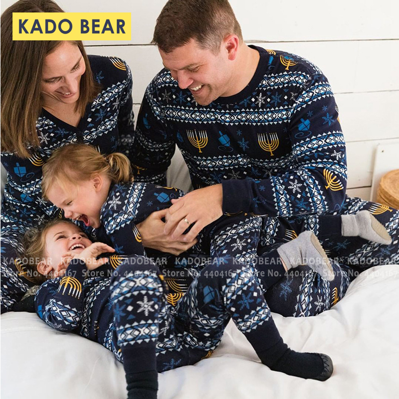 Christmas Snowflake Print Family Matching Mother Father Daughter Son Pajamas Set Kids Sleepwear Two Piece Clothes Pjs Tops Pants