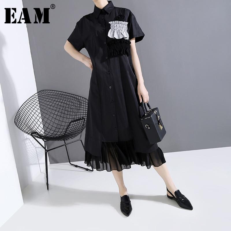 [EAM] Women Black Rufflfes Split Joint Chiffon Dress New Lapel Summer Sleeve Loose Fit Fashion Tide Spring Summer 2020 1T748