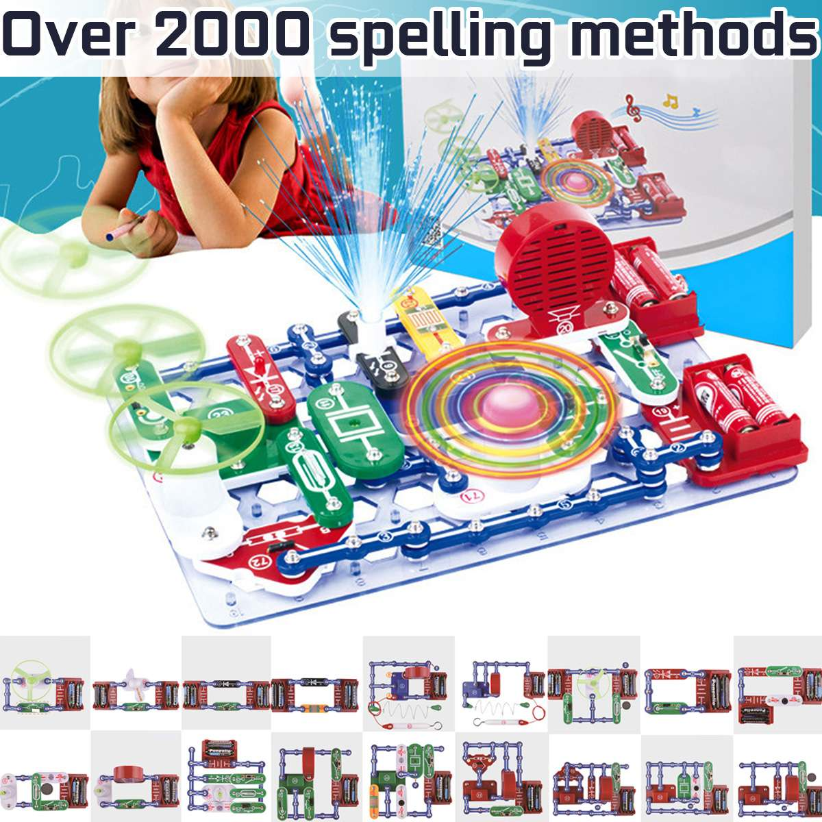 Over 2000 Kinds Compound Mode Electronics Discovery Blocks Kit Electric Circuits Educational DIY Assembling Toys For Children