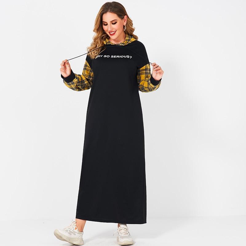 Женское Повседневное платье с капюшоном, длинное черное свободное платье большого размера с длинными рукавами и принтом букв в клетку
