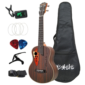 26 Inch Tenor Ukulele Grape Sound Hole Hawaiian Guitar 4 Strings Rosewood Ukelele Set with Bag Guitar Musical Instruments guitar aiersi 26 inch tenor cutaway jazz ukulele f hole mini acoustic guitar 4 strings ukelele electric guitarre with bag capo cable