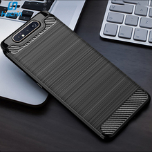 For Samsung Galaxy A80 Case Carbon fiber Soft Cover Full Pro