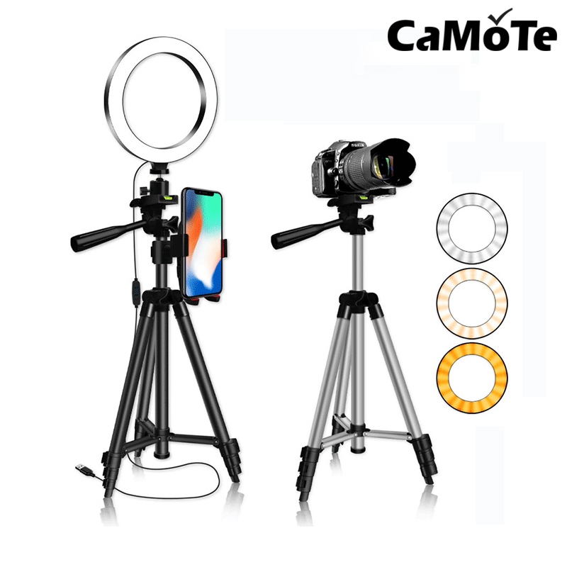 Custom High Quality Phone Photography Camera Beauty Selfie Circle Ring Lamp Led Dimmable Tripod Stand Light black holder