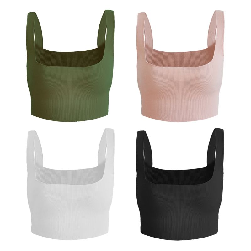 Womens Summer Sleeveless Wide Strap Crop Tops Solid Color Thread Ribbed Knitted Vest Sexy Square Neck Backless Casual Camisole