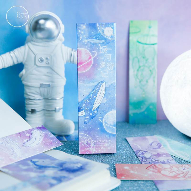 30 Pcs/lot Galaxy Roaming Bookmark Paper Cartoon Romantic Planet Dream Bookmark Promotional Gift Stationery Film Message Card