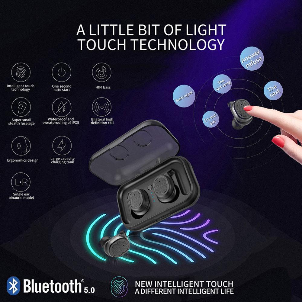 TWS 5 0 Bluetooth Earphones Wireless Headphones Waterproof Sports Earbuds Stereo Headset Handsfree Auriculares For Phones Xiaomi in Bluetooth Earphones Headphones from Consumer Electronics