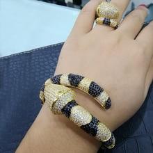 GODKI Conjunto de anillo de brazalete africano de serpiente de lujo, juegos de joyas para mujer, aretes de compromiso de boda para as mulheres 2018