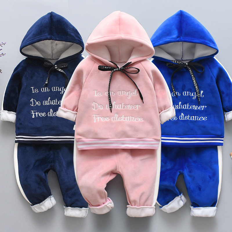 Baby clothes winter children's suit smiley letters hooded sweater baby girl gold velvet thick warm two-piece baby boy clothing