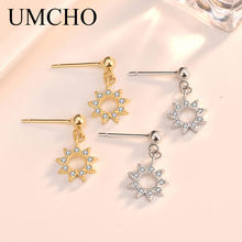 UMCHO Sun Solid Silver 925 Jewelry Drop Created Cubic Zircon Clip Earrings For Women Birthday Gifts Charms Fine Jewelry(China)
