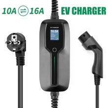 شاحن سيارات كهربائية نوع 2 10/16A للتحويل المحمولة EVSE EV شحن صندوق كابل IEC 62196 2 مركبة كهربية شاحن سيارة ل تسلا