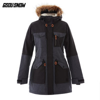 GSOU SNOW Women Ski Jacket Skiing Snowboard Clothing Windproof Waterproof Outdoor Sport Wear Super Warm Female Fur Hooded Coat