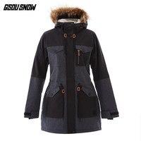 GSOU SNOW Women Ski Jacket Skiing Snowboard Clothing Windproof Waterproof Outdoor Sport Wear Super Warm Female Fur Hooded Coat