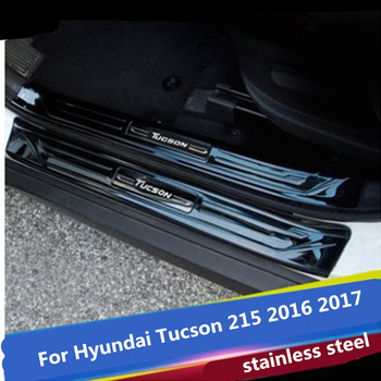 304 stainless steel Lengthen Scuff Plate/Door Sill Door Sill pedal bienvenidos 8PCS For Hyundai Tucson 215 2016 2017 Car styling