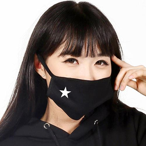 Unisex Elastic Band Earloop Face Mouth Mask Anti-dust White Star Pattern Cotton