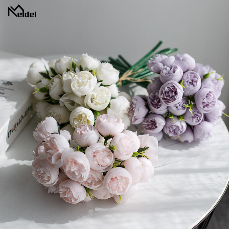 27 Heads Small Tea Roses Artificial Flowers Fake Flowers Silk Roses Wedding Bridal Bouquet Table DIY Home Decor Faux Flores Rose