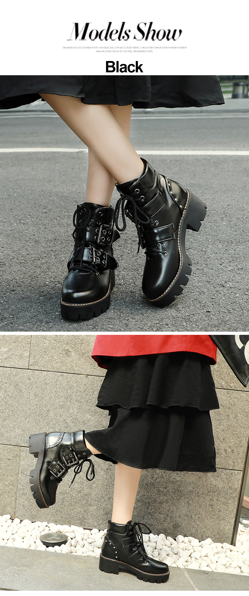 Gdgydh Fashion Buckle Black Gothic Boots Woman Punk Lace-up Chunky Heels Ladies Short Boots Comfortable New Arrival Drop Ship