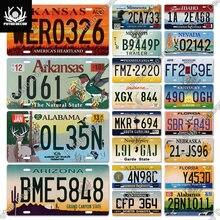 Putuo decoração americano licenças placa metal estanho sinal novo estados unidos do carro número pintura para sala de estar do carro garagem decoração da parede