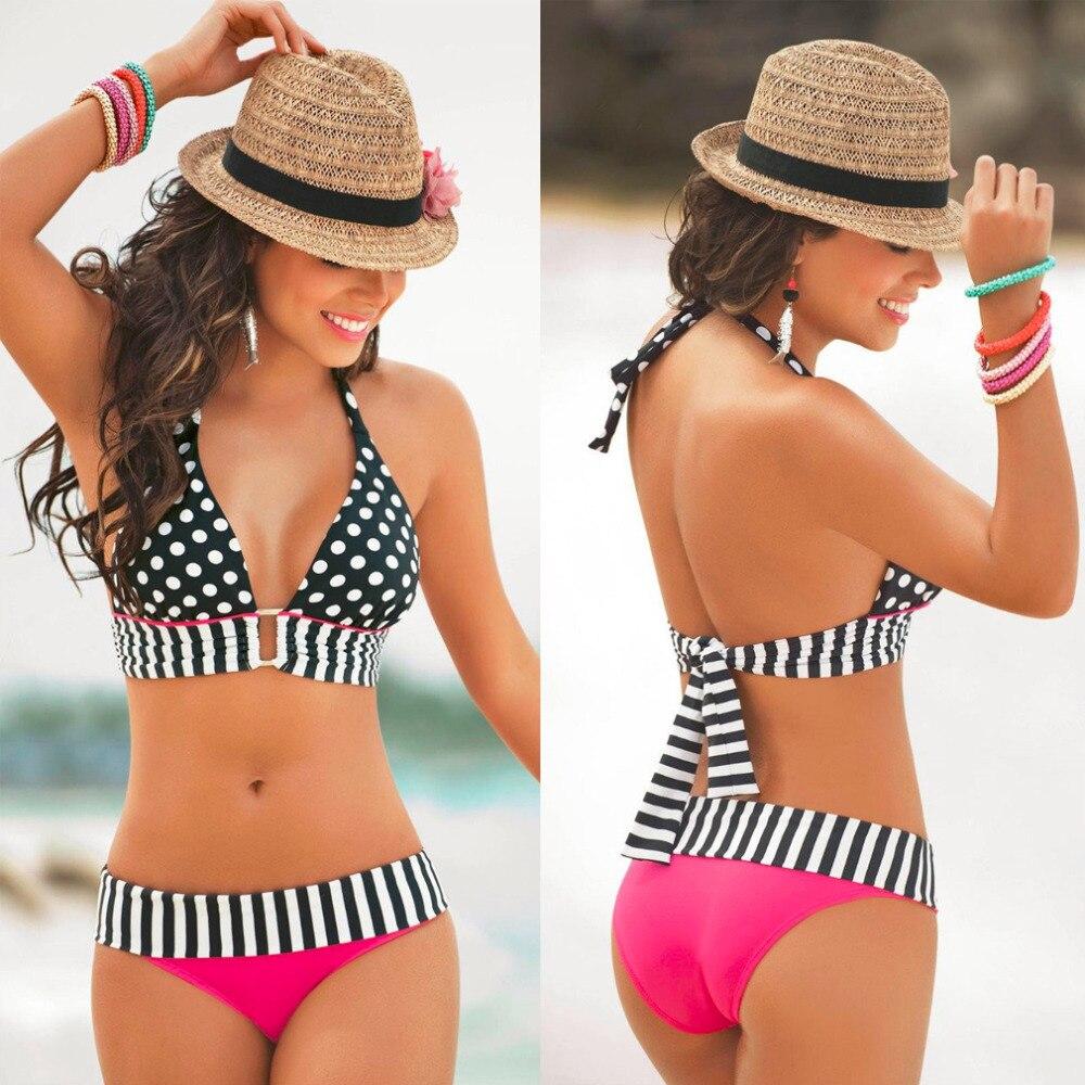 Vintage Bikini High Waisted Retro Fringe  Bathing Swim Polka Dots High Waisted Retro Fringe Vintage Bikini Outdoor Hot