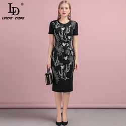 LD LINDA DELLA Fashion Runway Autumn Knitting Dress Women's Short Sleeve Beading Embroidery Elegant Vintage Slim Midi Dresses