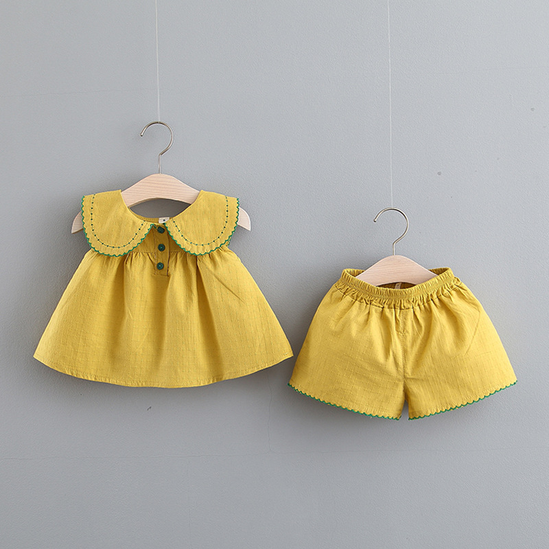Baby Girls Summer Wear Set Clothes GIRL'S Shirt Shorts For Babies Korean-style Solid Color Two-piece Set Cotton Combed Cotton