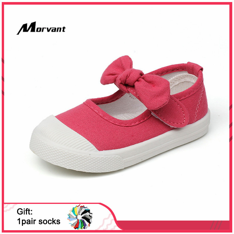 Baby Girls Shoes Cute Bow-knot Children's Canvas Shoes Comfortable Princess Shoe Breathable Kids Footwear