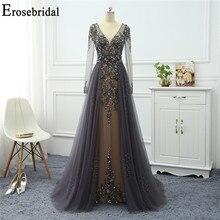 Erosebridal 2020 Abendkleid Langarm Grau EINE Linie Abendkleid Elegante Lange Formale Frauen Prom Party Tragen Exquisite Perlen