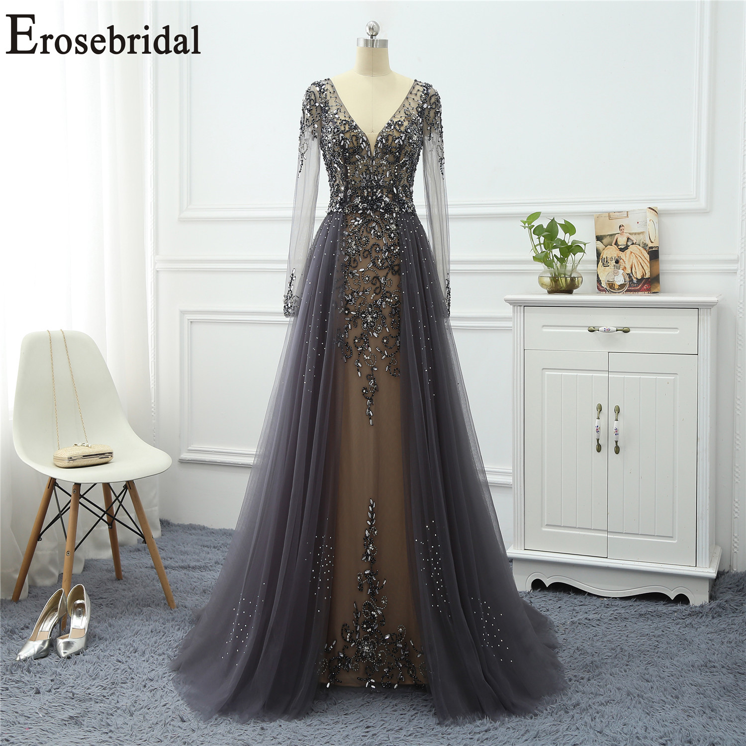 Erosebridal Long Sleeve Occasion Dresses For Women Evening Dress Long Formal Dresses Evening Gowns Tulle Fabric With Beaded