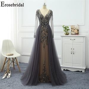 Image 1 - Robe de soirée à manches longues grise, ligne A, robe de soirée pour femmes, élégante, robe longue, de standing, robes de bal, perles exquises, 2020