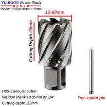 Diâmetro 12-60mm x 25mm HSS-E cortador anular com haste de weldon. Hss broach cortador para máquina de broca magnética. Profundidade de corte 25mm