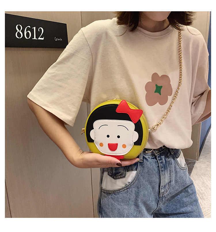 2019 de moda de nova menina dos desenhos animados mochila oblíquo saco de rede celebridade mini rodada