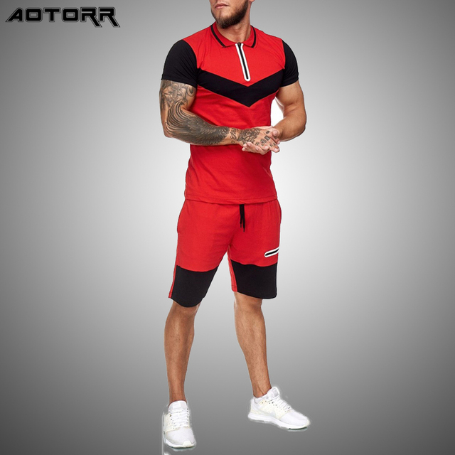 Summer Fashion Mens Shorts Sets 2021 Casual Color Matching Short Sleeved 2 Piece Set Running Sports Fitness Tracksuit Men 1