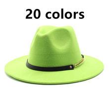 Женская фетровая шляпа федора однотонная классическая с широкими