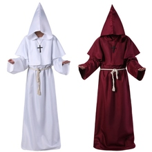 Halloween Comic Con Cosplay Costume Halloween Cos Monk Hooded Robe Cloak Cape Friar Medieval Renaissance Priest Men Robe Clothes star wars jedi cloak cosplay costumes adult men hooded robe cloak cape costume halloween christmas dresswith