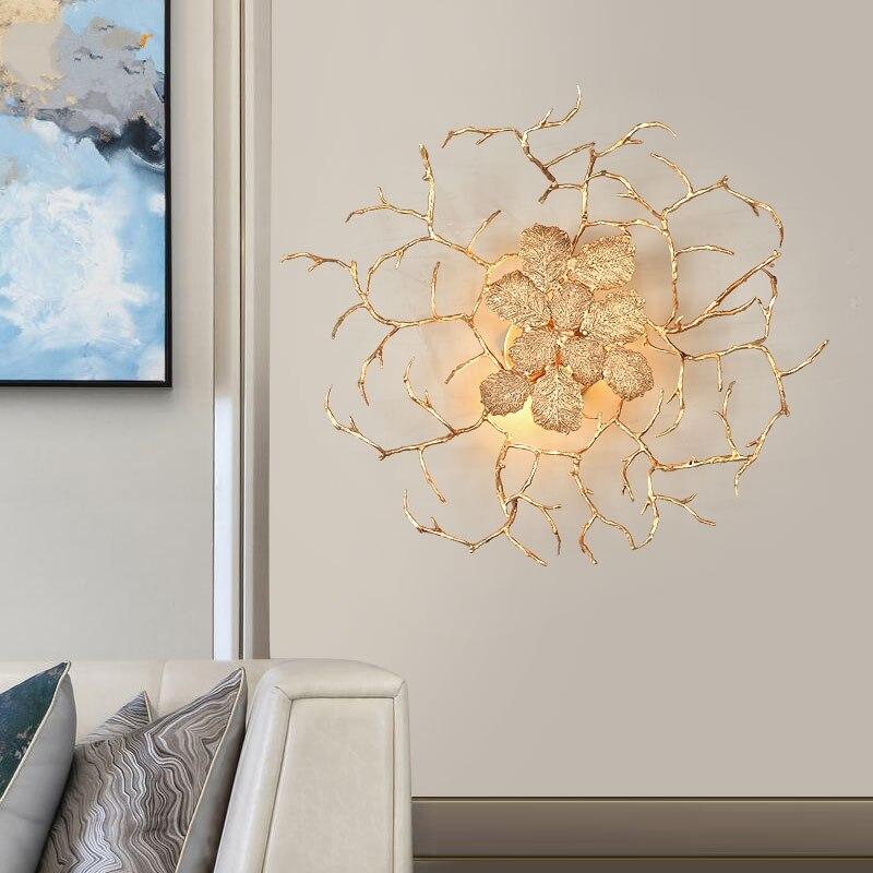 Lámpara de pared de cobre, lámpara de pared de rama de árbol de latón, lámpara de pared moderna de lujo de oro, iluminación para la vanidad de la sala de estar