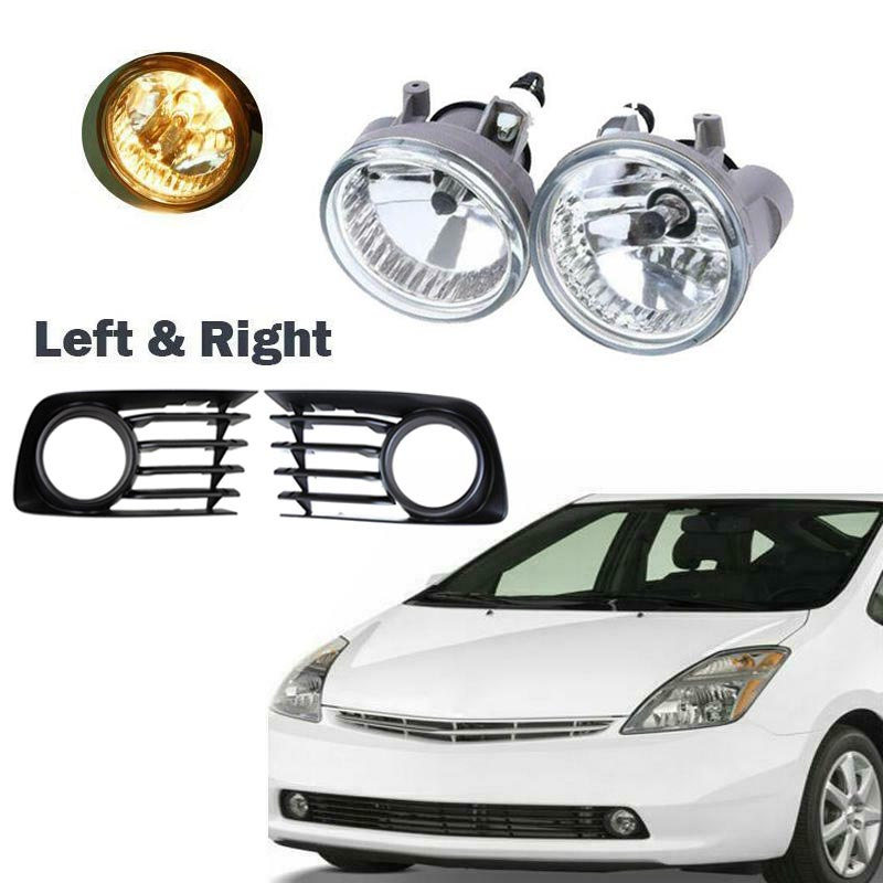 Pair Front Bumper Fog Light Lamps + Covers Kit For Toyota Prius 2004-2009 With Bulb 81221-52070 81211-52070
