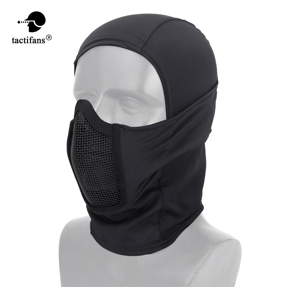 Paintabll Hooded Tactical Balaclava Helmets Steel Mesh Mask Polyester Neck Protective Hunting Gel Blaster Airsoft Accessories