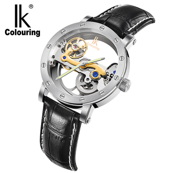 IK Colouring Automatic Mechanical Watch Men Double-sided Hollow Out Black Leather Strap Wristwatch Waterproof 5ATM 2020 Fashion