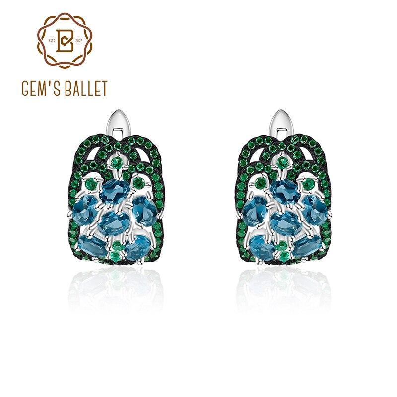 GEM'S BALLET 925 en argent Sterling Vintage boucles d'oreilles en pierres précieuses 2.5Ct naturel topaze bleu londres boucles d'oreilles pour femmes bijoux fins