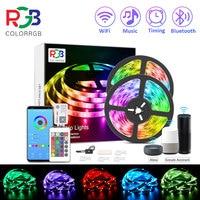 ColorRGB, ledy, inteligentne WiFi LED diody na wstążce, współpracuje z Alexa, Google domu, jaśniejsze 5050 LED pasek światła, DC12V aplikacja na telefon 12M